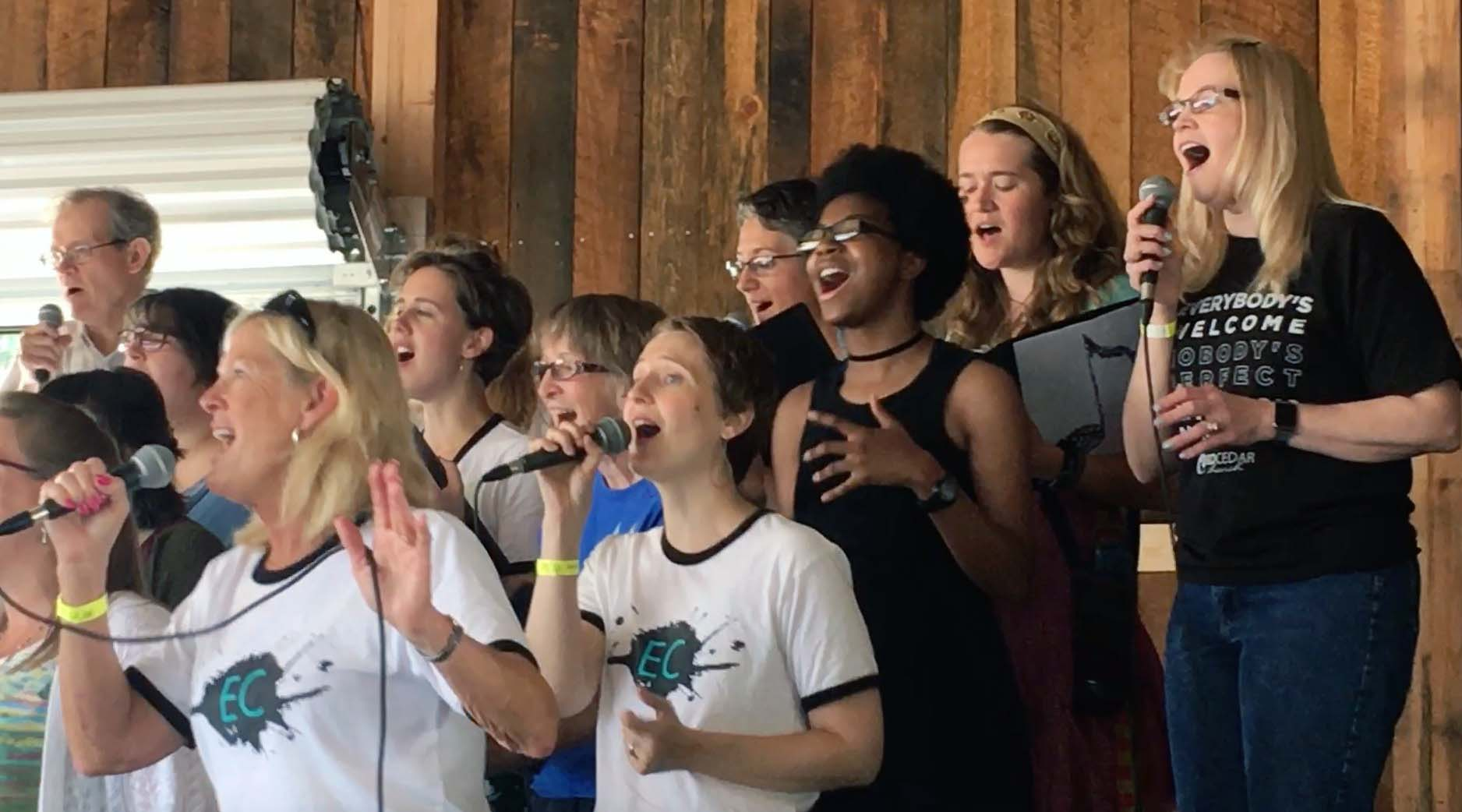 Collective Choir performing at One Fest at the Chippewa Fair Grounds 2018.