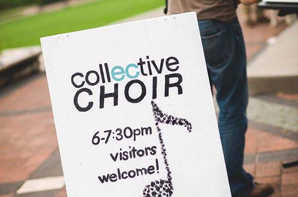 The Collective Choir appearing at Phoenix Park in Eau Claire Wi 2018.