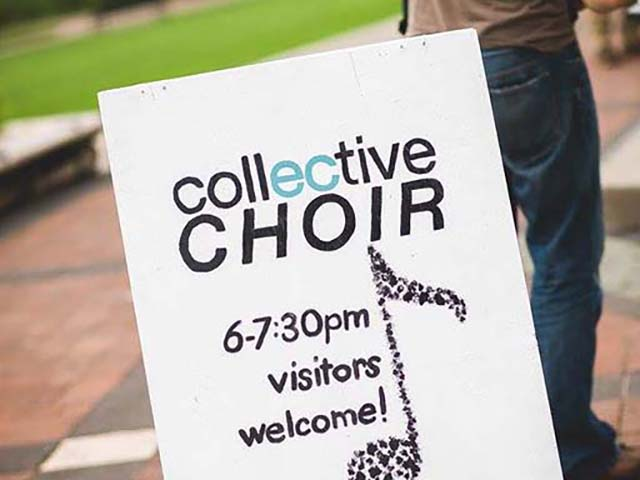The CollECtive Choir meets for rehearsal at Phoenix Park in Eau Claire during the warmer seasons without rain. All other times they will meet at Valleybrook Church in Eau CLaire.