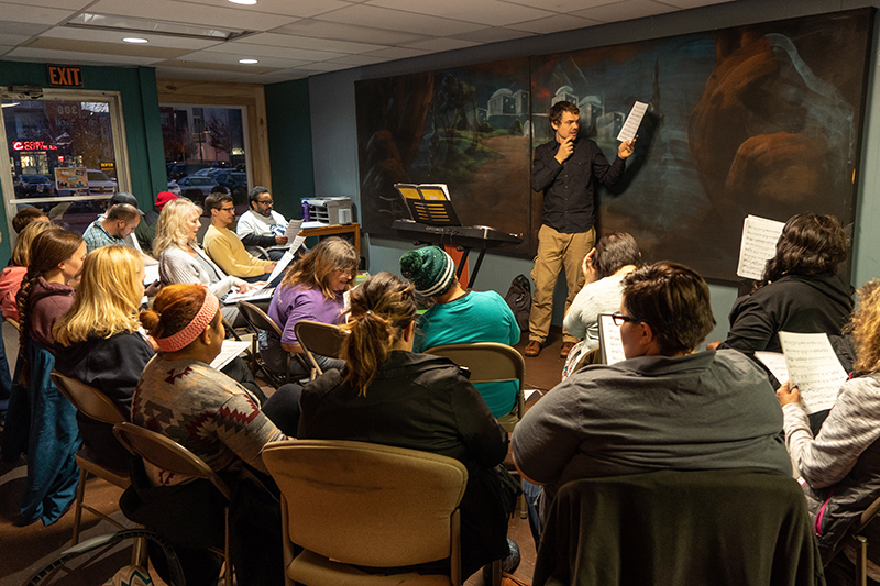 The CollECtive Choir from 2014 to 2019 rehearsed at the Lighthouse Youth Center during cold or inclement conditions. When the weather is nice and warm, we will meet at Phoenix Park. Both locations  are in Eau Claire Wi.