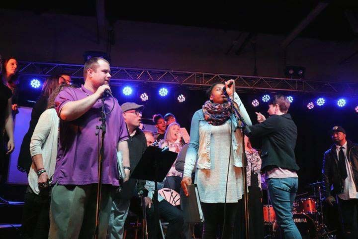 The CollECtive Choir performs at The Metro in Eau Claire Wi.